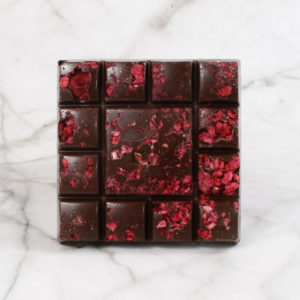 dark chocolate raspberry vegan friendly chocolate square