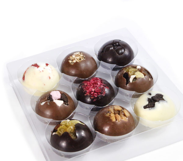 9 Luxury Solid Chocolate Domes Pink Gift Box