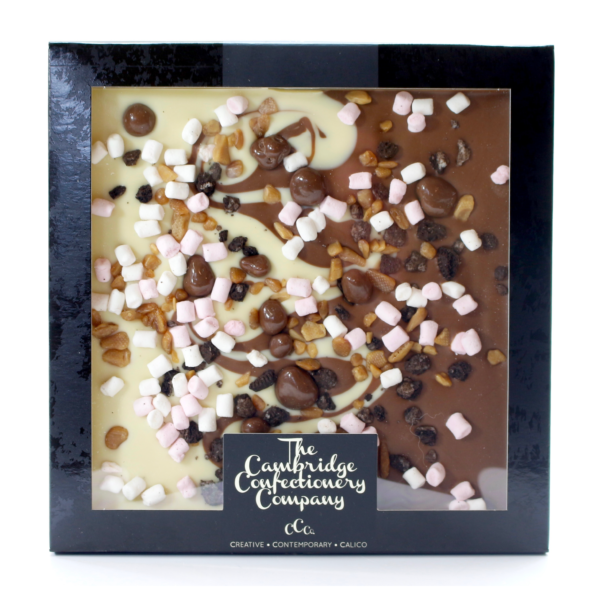 fully loaded giant chocolate tile with marshmallows and cookie