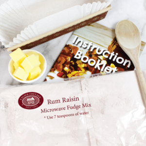 rum and rasin microwave fudge mix